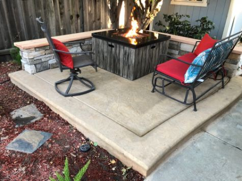 this image shows outdoor fireplace in Aliso Viejo